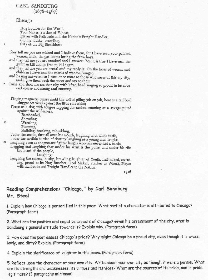 analysis of chicago by carl sandburg